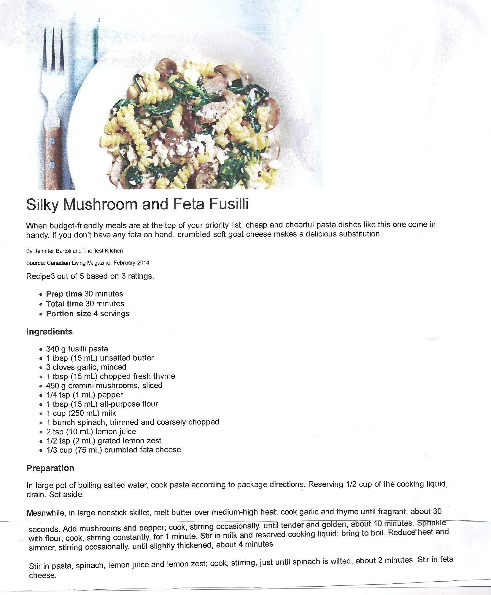 Spinach, Mushroom and Feta Pasta